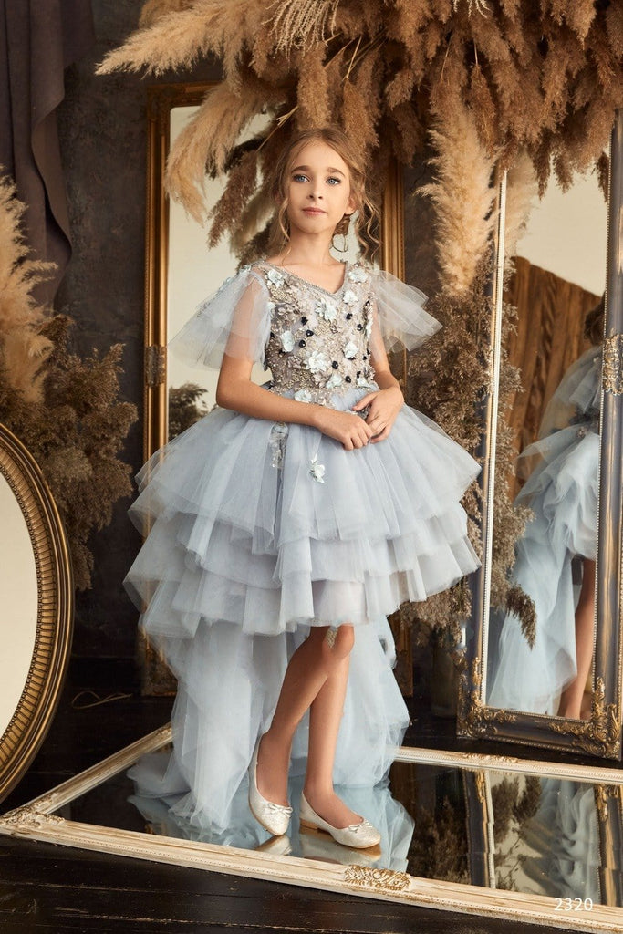 Flower Girl Long Sleeve Princess Ball Gown with Feather Accents
