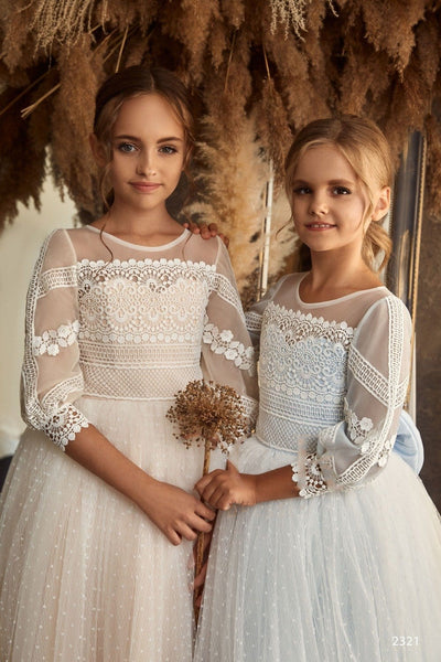 Flower Girl Angel Flutter Sleeves Star Lace Tulle Princess Ball Gown