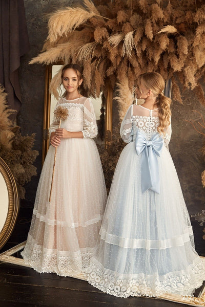 2321 Darina Flower Girl Angel Flutter Sleeves Star Lace Tulle Princess Ball Gown
