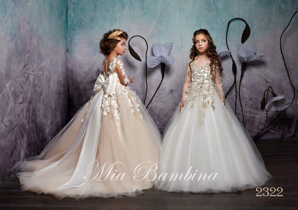 2322 Serafima Illusion Long Sleeve Contrast Floral Lace Junior Bridesmaid Gown - Mia Bambina Boutique