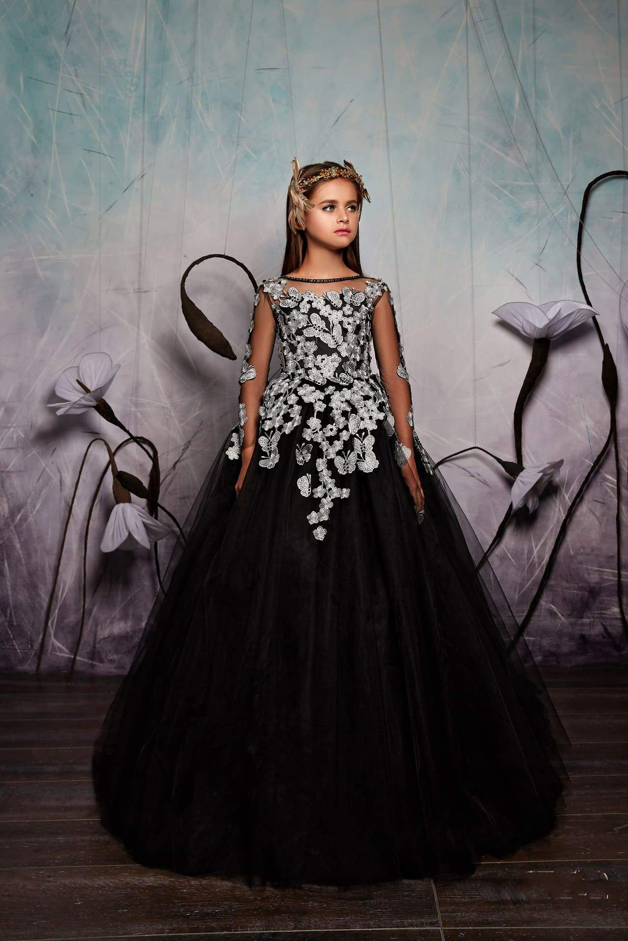 c3df36e0425 Junior Bridesmaid Long Sleeve Contrast Floral Lace Tulle Gown with Bow
