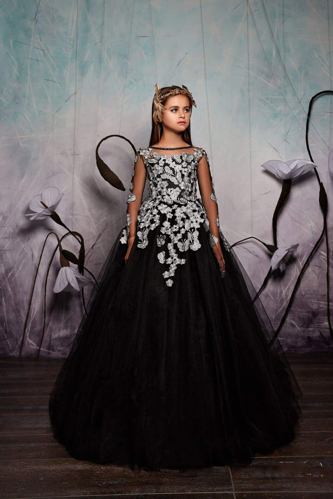Junior Bridesmaid Long Sleeve Contrast Floral Lace Tulle Gown with Bow