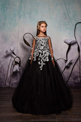 Buy Junior Bridesmaid Long Sleeve Contrast Floral Lace Tulle Gown with Bow