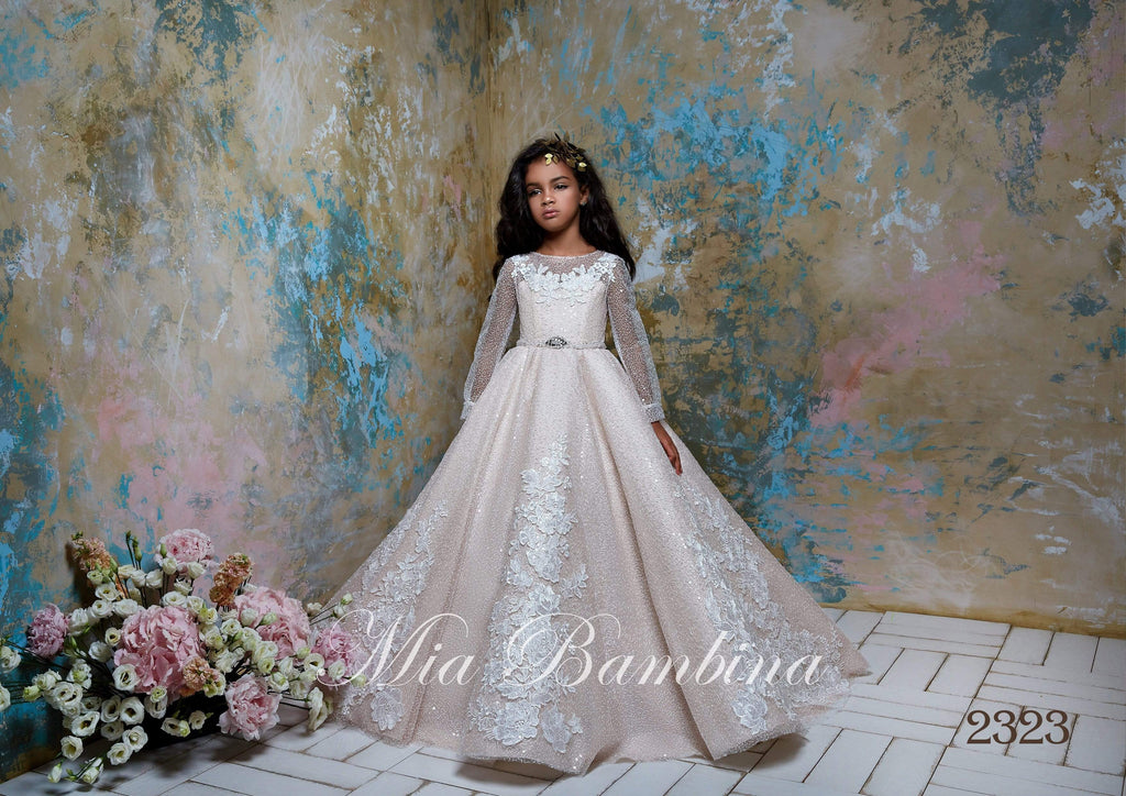 2323 Flower Girl Sparkly Long Sleeve Beaded Tulle Princess Ball Gown - Mia Bambina Boutique