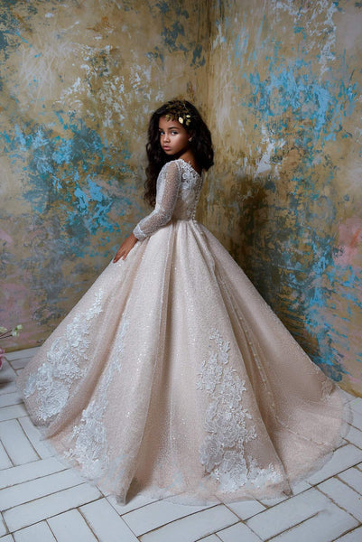 Flower Girl Sparkly Long Sleeve Beaded Tulle Princess Ball Gown