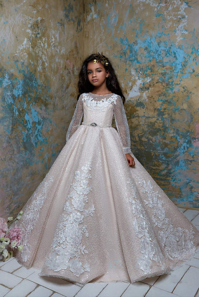 2323 Flower Girl Sparkly Long Sleeve Beaded Tulle Princess Ball Gown