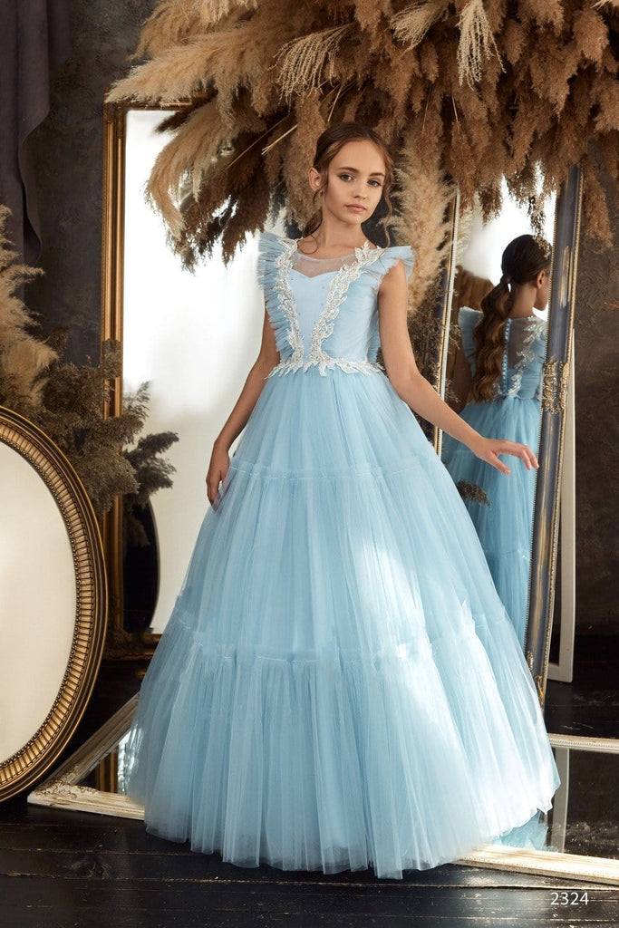 2324 Girls Empire Waist Boho Style Flounce Sleeves Long Short Dress