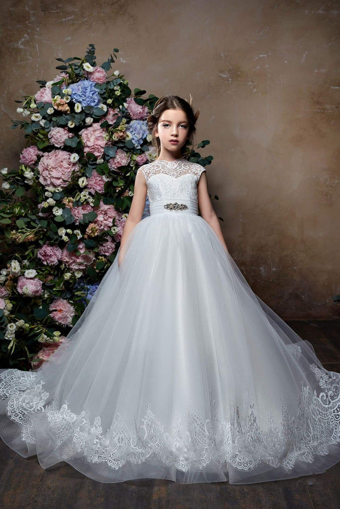 Flower Girl Elegant Classic Short Sleeve Lace Tulle Princess Ball Gown