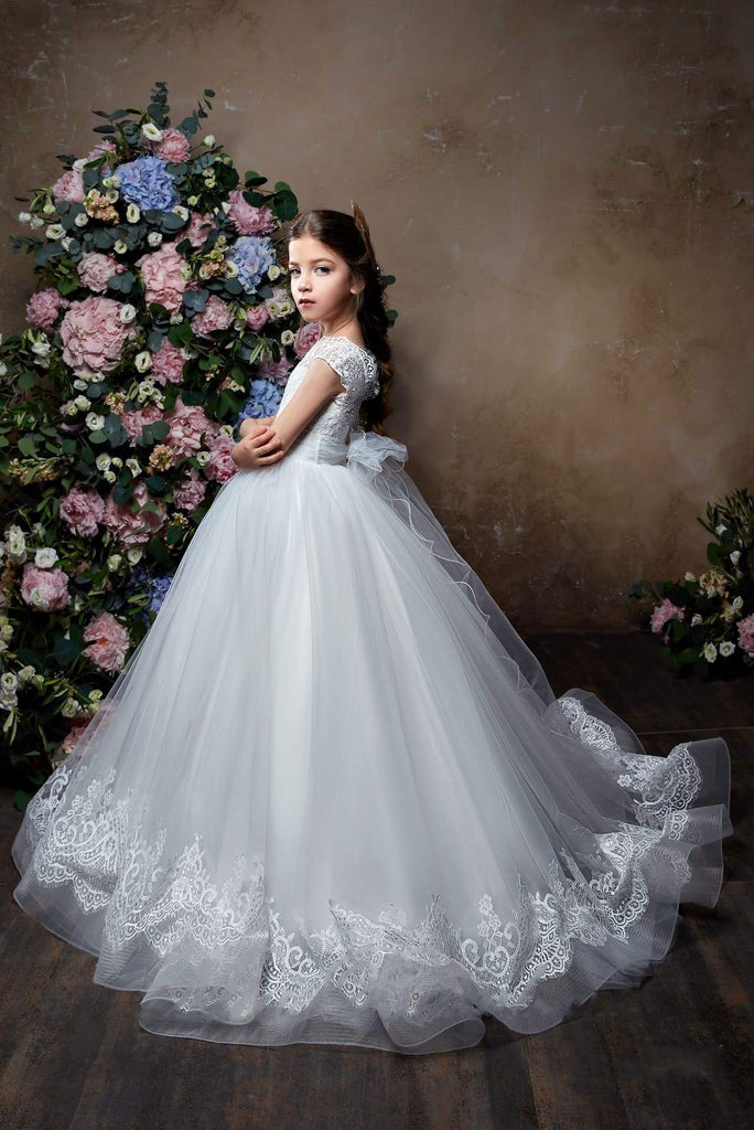 2325 Flower Girl Elegant Classic Short Sleeve Lace Tulle Princess Ball Gown