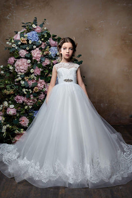 Buy Flower Girl Elegant Classic Short Sleeve Lace Tulle Princess Ball Gown