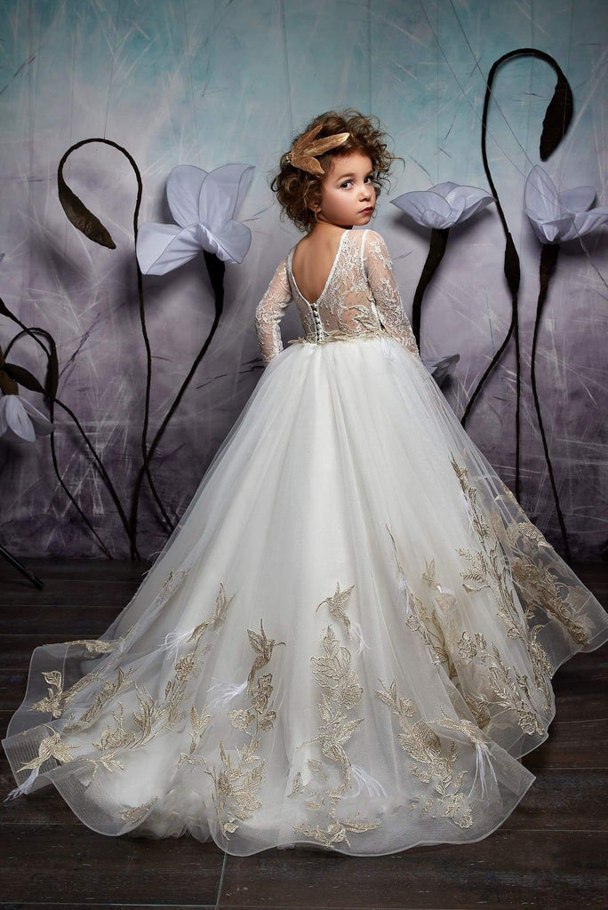 2326 Flower Girl Long Sleeved Embroidered Princess Ball Gown with a V-Cut Back
