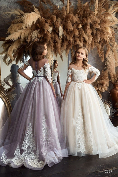 2327 Luxurious Girls Long Sleeve Star Lace Gown with Feathers & Rhinestones