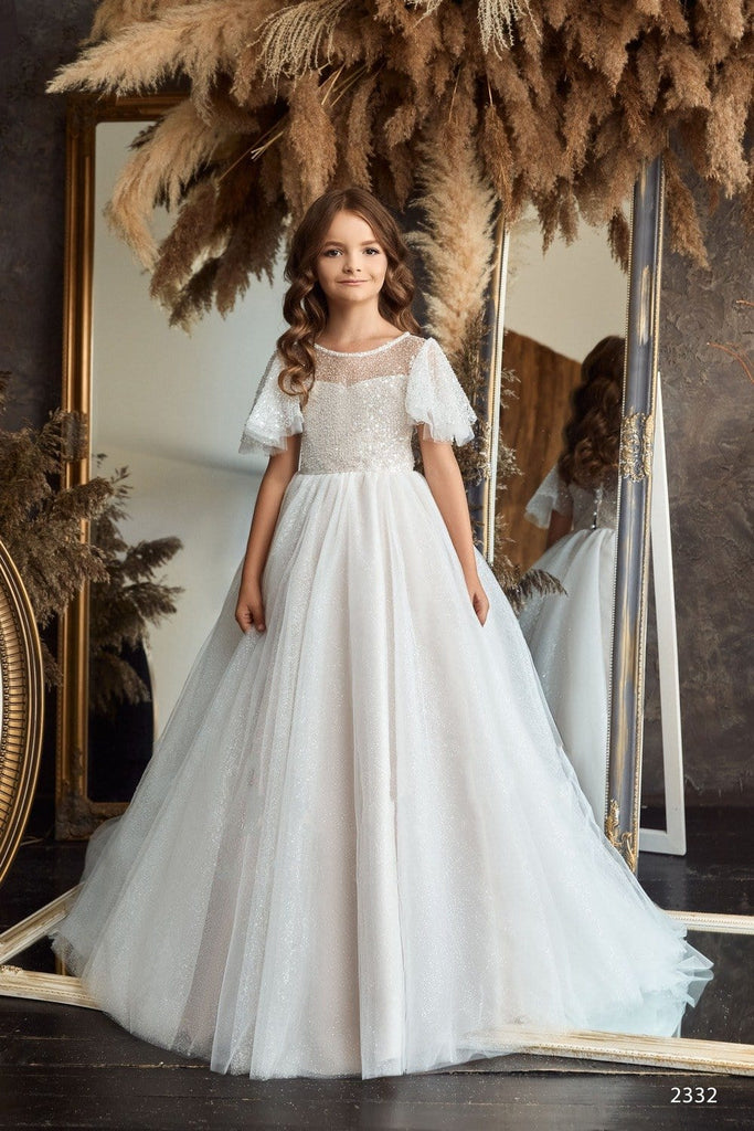 Girls Long Sleeve V-back Lace Princess Ball Gown with Train