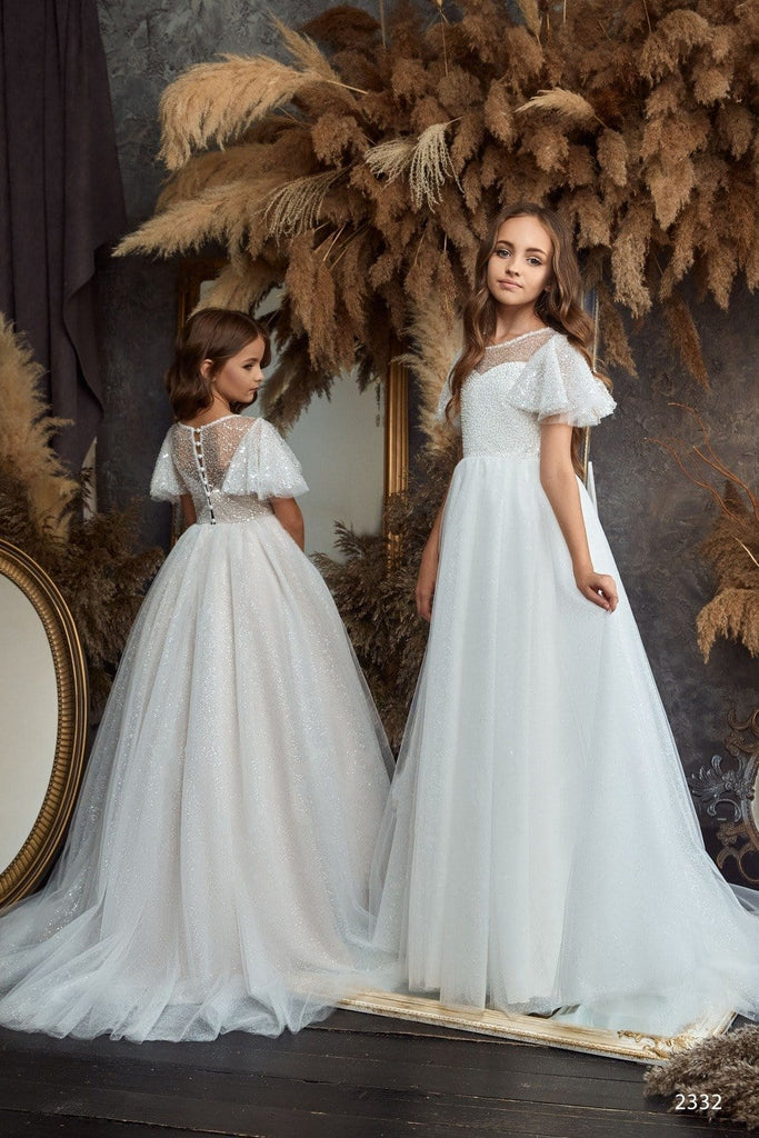 2332 Girls Long Sleeve V-back Lace Princess Ball Gown with Train
