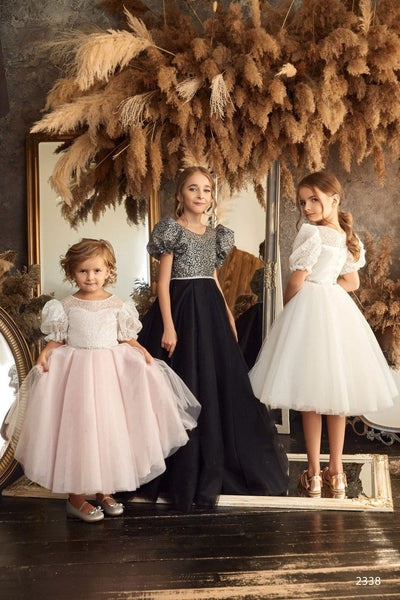 2338 Girls Junior Retro Vintage Elegant 3d Flowers Applique Long Tulle Gown with Train