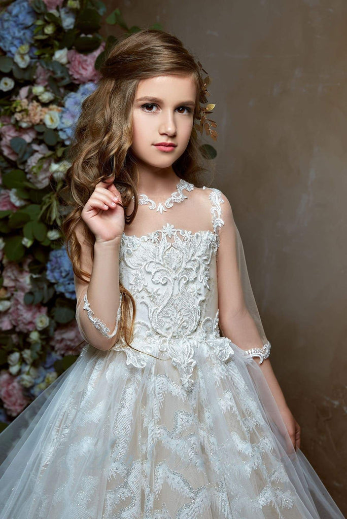 2340  Princess Ball Gown 3/4 Length Sheer Sleeves Illusion Top Lace Flower Girl Dress