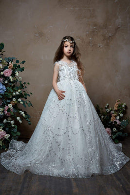 c89f7ee6d 2341 Junior Bridesmaid Retro Tulle Dress Embroidered with Beads and  Feathers. No reviews. The Flower Girl ...