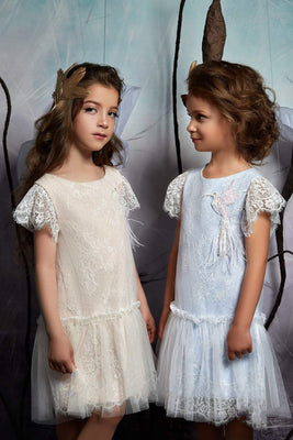 Buy Girls Boho Dress - Lace and Tulle Dress with Hummingbird Beadwork