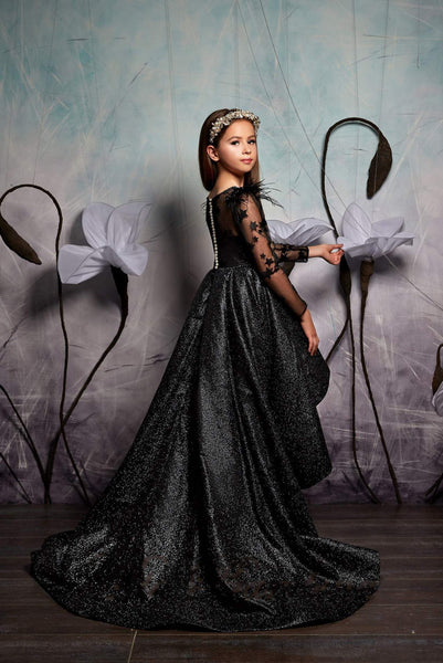 2347 Sparkly Feathers Hi-Low Flower Girl With Train Formal or Birthday Dress