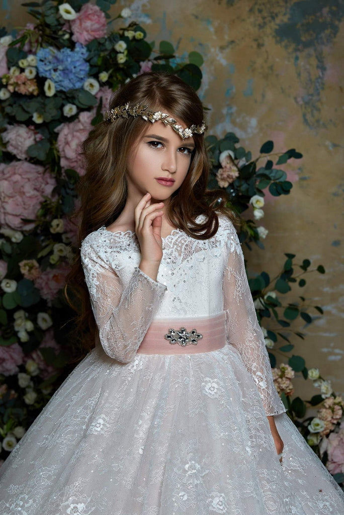 2351 Long Lace Dress for Girls with sash - Mia Bambina Boutique