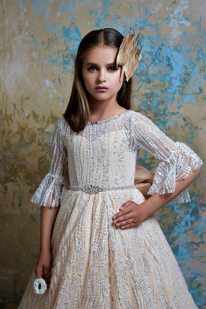 2355 Girls Unique Chic Sparkly Encrusted Bejewelled Bell Sleeves Open Back Gown