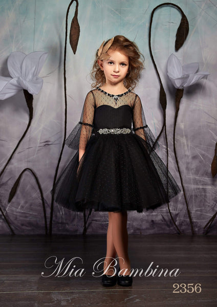 2356 Little Girls Elegant Black Tulle Tutu Dress with Sheer Bell Sleeves - Mia Bambina Boutique