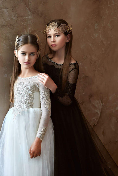 2358 Junior Bridesmaid Long Sleeve Contrast Lace Flowing Gown