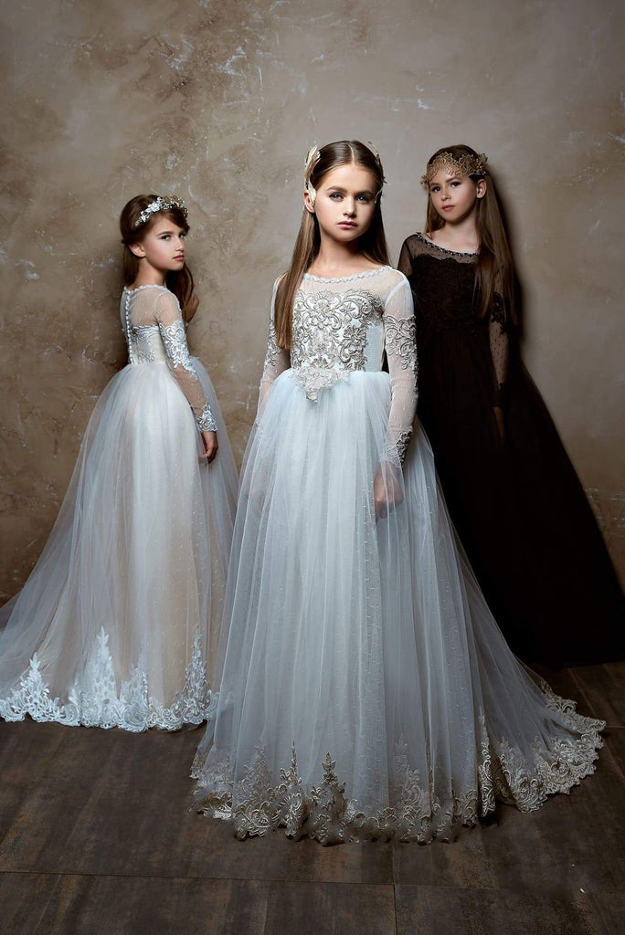 Junior Bridesmaid Long Sleeve Contrast Lace Flowing Gown