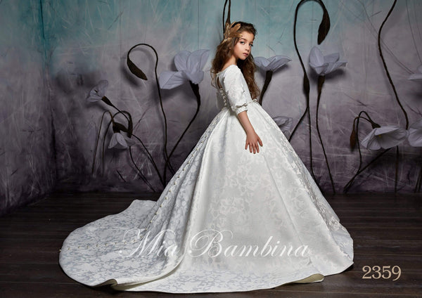 2359 Girls Elegant Classic Princess Style Cuffed Half Sleeves Ball Gown with Train - Mia Bambina Boutique