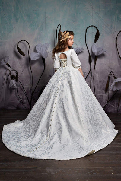 2359 Girls Elegant Classic Princess Style Cuffed Half Sleeves Ball Gown with Train