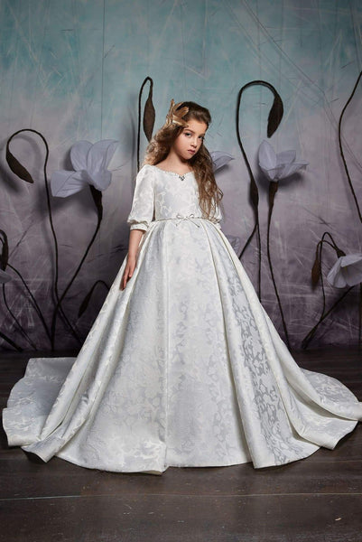 Girls Elegant Classic Princess Style Cuffed Half Sleeves Ball Gown with Train