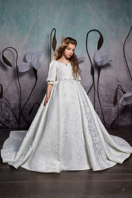 Buy Girls Elegant Classic Princess Style Cuffed Half Sleeves Ball Gown with Train