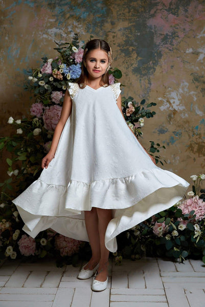 2361 Girls Hi-Low Ruffle-Trimmed Trapeze Dress