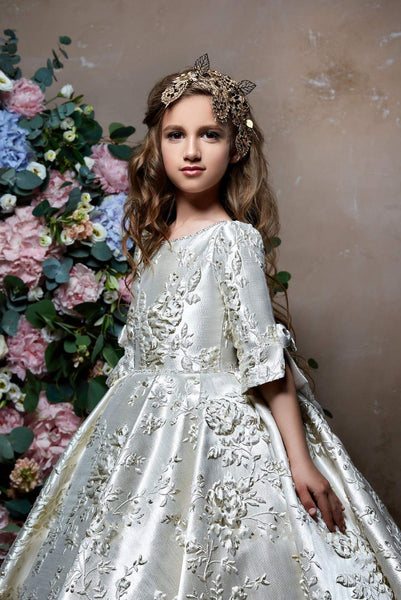 2363 Elegant Floral Brocade Half Sleeve Gown for Little Girl Junior Bridesmaid