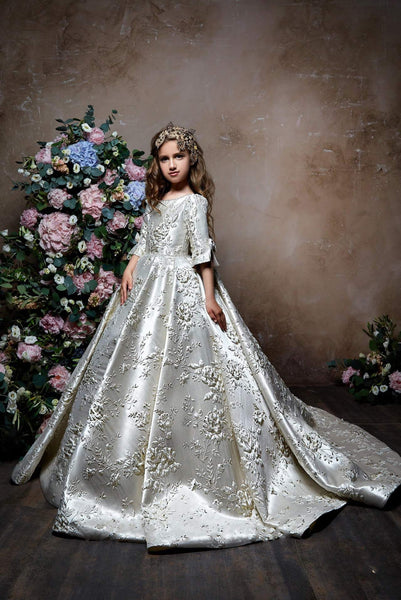 Elegant Floral Brocade Half Sleeve Gown for Little Girl Junior Bridesmaid