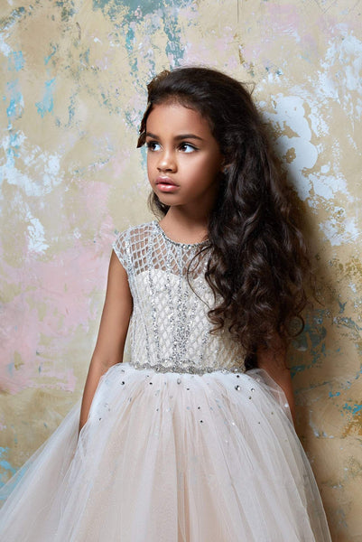 2366 Little Girl Luxurious Sparkly Sleeveless Lattice Tulle Special Occasion Dress