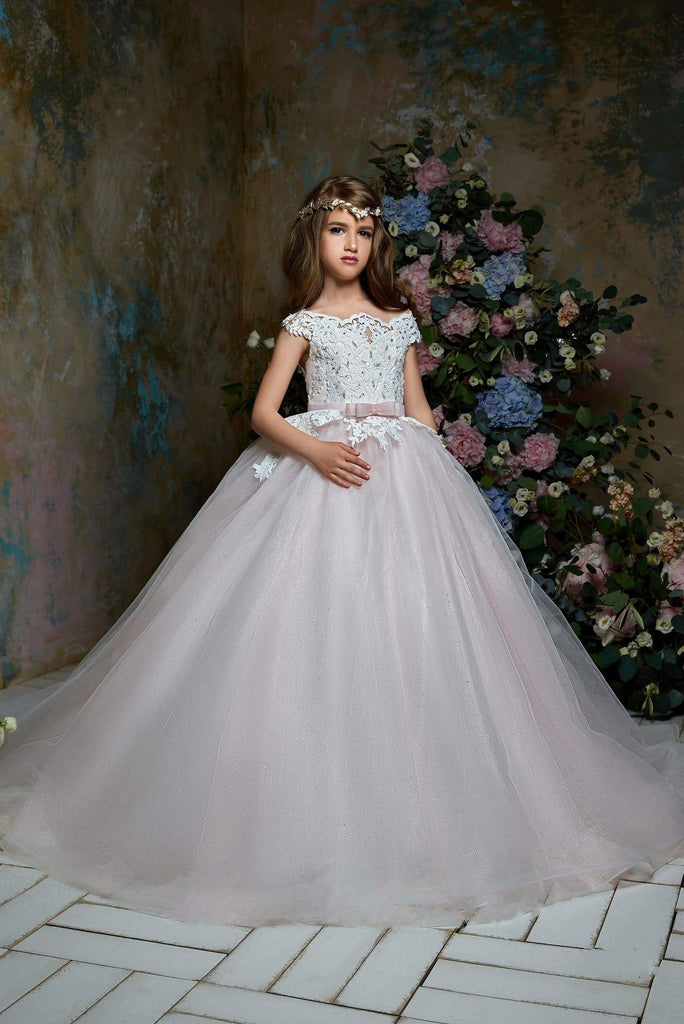 Junior Bridesmaid Short Sleeve Glitter Embroidered Lace Top Tulle Gown
