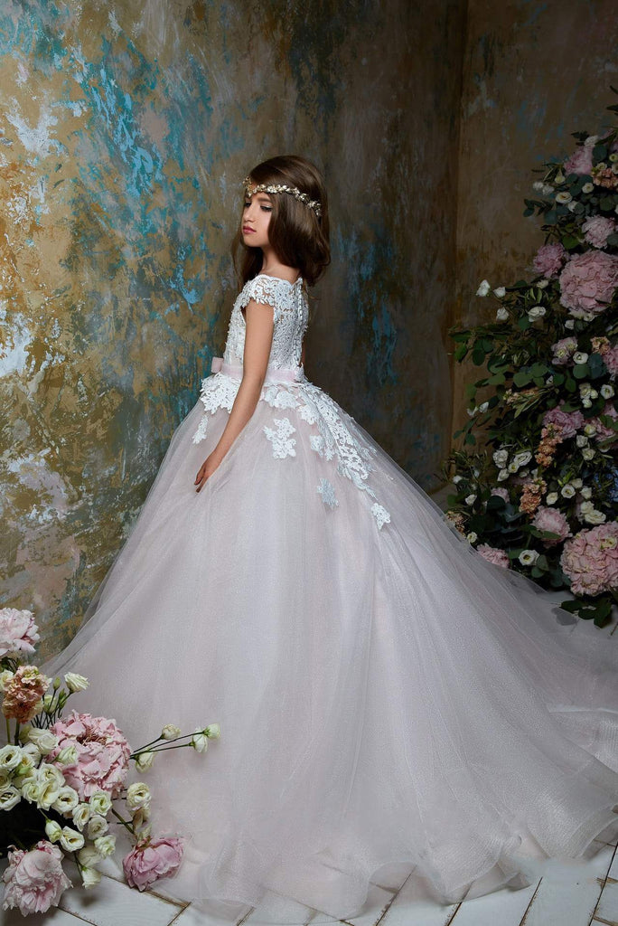 2367 Junior Bridesmaid Short Sleeve Glitter Embroidered Lace Top Tulle Gown