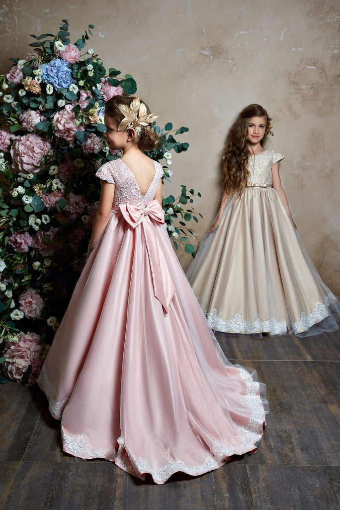 2368 Juliana Cap Sleeve V Back Lace Bodice Tulle over Satin Flower Girl Dress