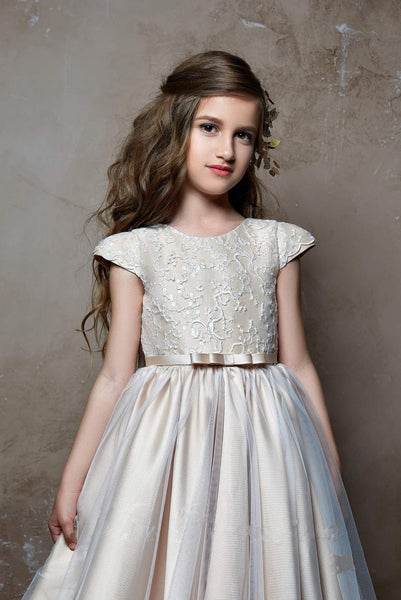 Juliana Cap Sleeve V Back Lace Bodice Tulle over Satin Flower Girl Dress