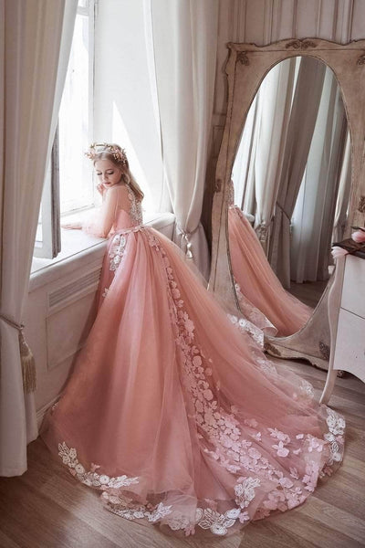 3100 Pink Princess dress long sleeves - Mia Bambina Boutique