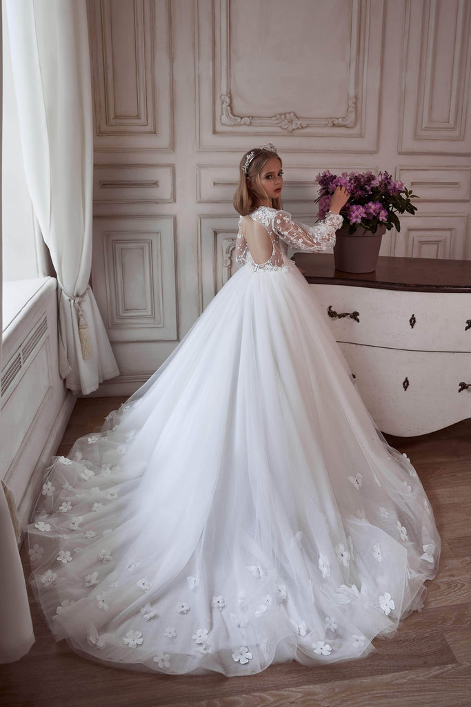 3116 Flower girl dress with open back - Mia Bambina Boutique