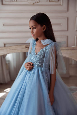 Buy 3117 Pastel Blue Girls long dress - Mia Bambina Boutique