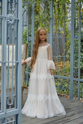Buy AB036 Long Lace Communion Dress - Mia Bambina Boutique