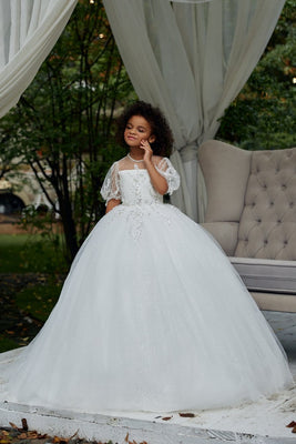 Buy AB037 Puffed Sleeves Ball Gown - Mia Bambina Boutique