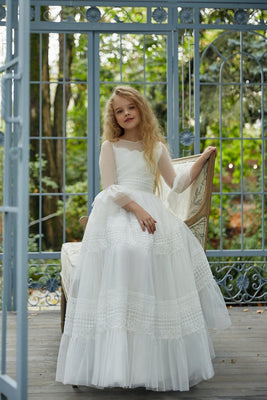 Buy AB038 Soft Tulle Long Girl's Dress - Mia Bambina Boutique
