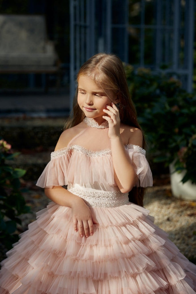 AB039 Ruffled Flower Girl Dress - Mia Bambina Boutique