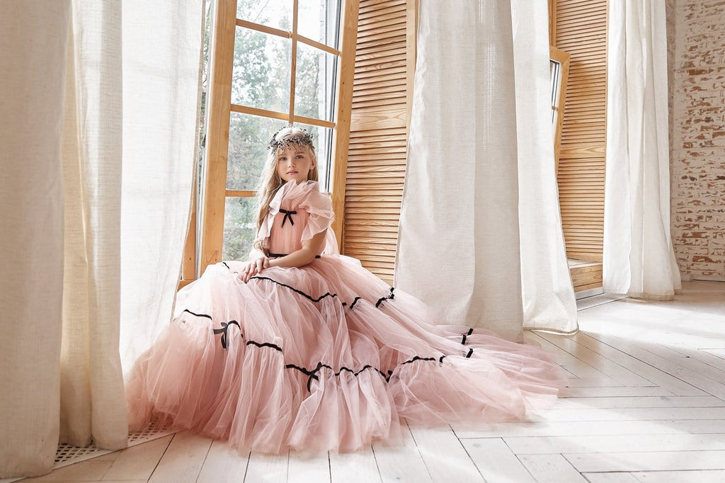 AB049 Tulle Flower Girl Dress - Mia Bambina Boutique