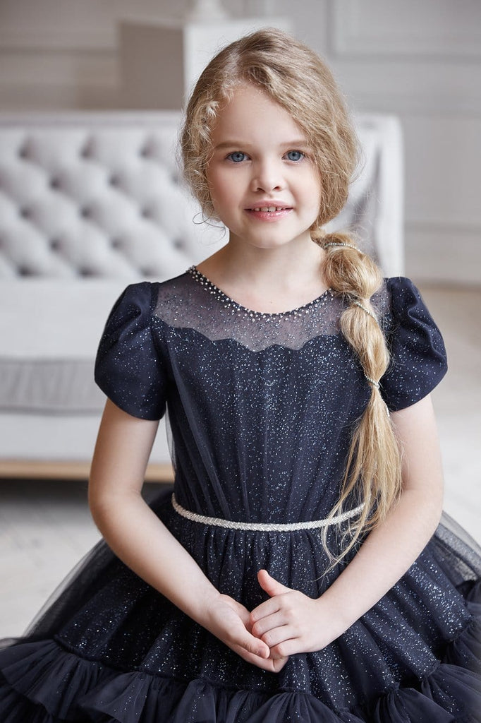 AB054 Black Flower Girl Dress - Mia Bambina Boutique