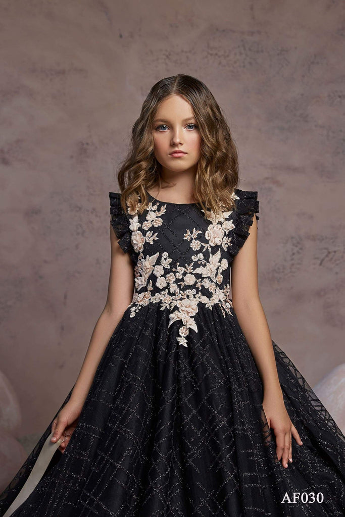 AF030 Black Dress with gold lace - Mia Bambina Boutique